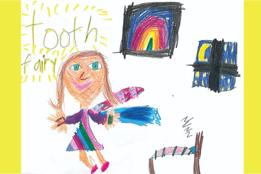 A child's drawing of a winged tooth fairy in a bedroom with a moon in the window and a rainbow picture on the wall.