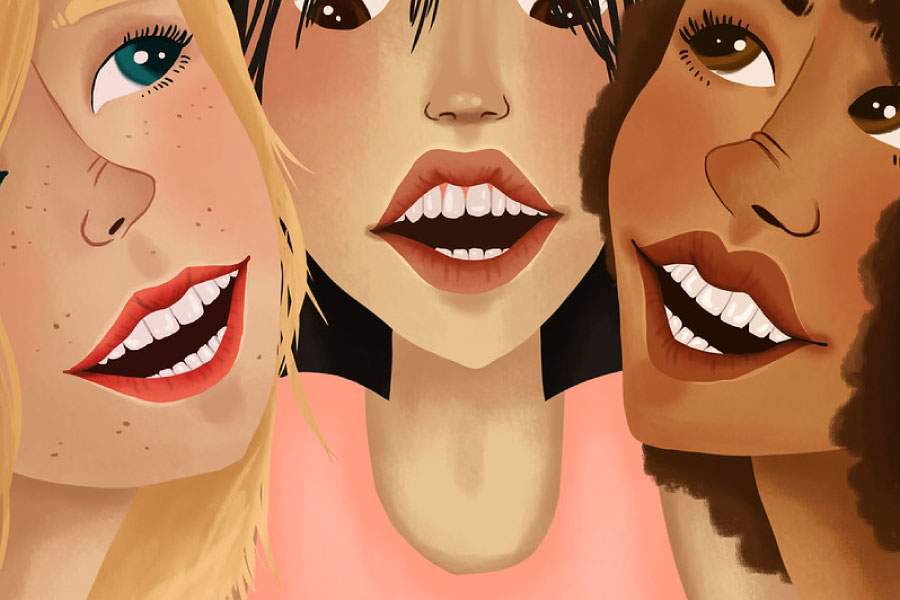 Cartoon of three women smiling with dental veneers.